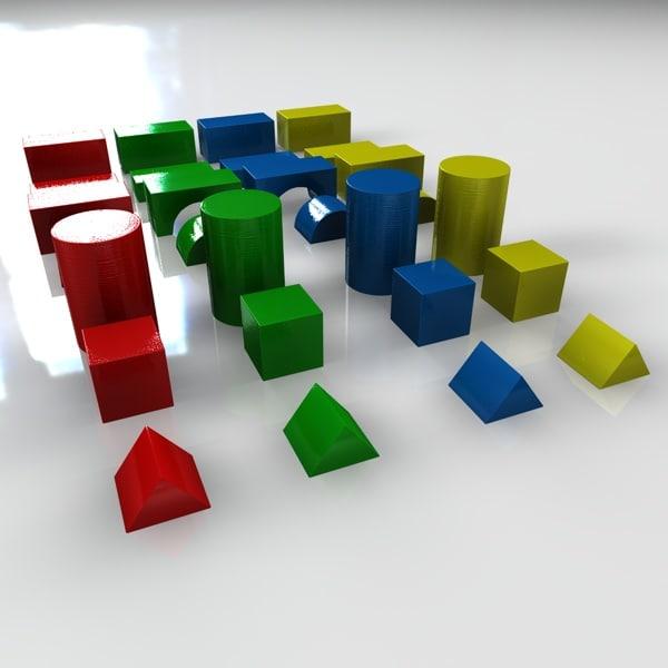 3d building blocks model
