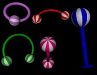 BeachBall smooth body jewelry 5 piece set