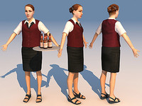 character waiter 01 3d model