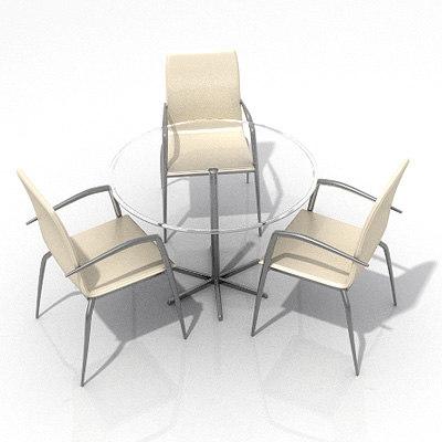 table chair 3d lwo