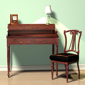 antique writing desk 3ds