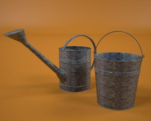 3d model of brass waterin bucket