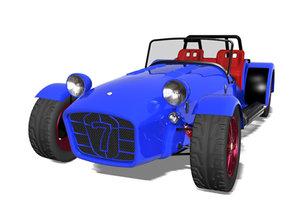 caterham super seven sportcar 3d model