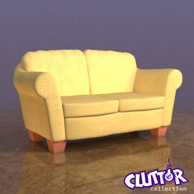 3d model couch clutterfurniture clutter