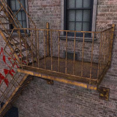 3d model alley escape backdrop