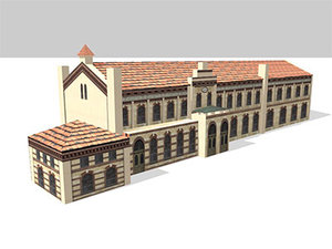 railway station landsberg 3d model