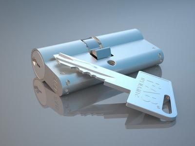 3ds max cylinder lock key