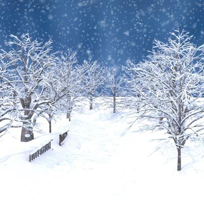 3d model winter broadleaf alley scene