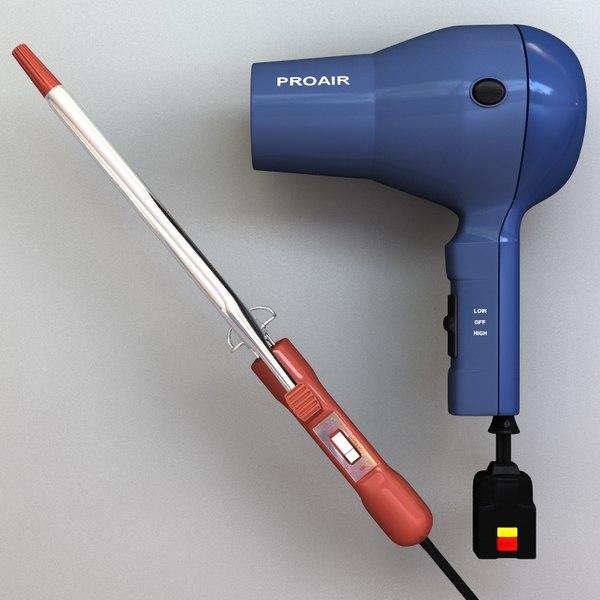 hair dryer curling iron 3d model