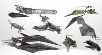 sci-fi spacecrafts 3d ma