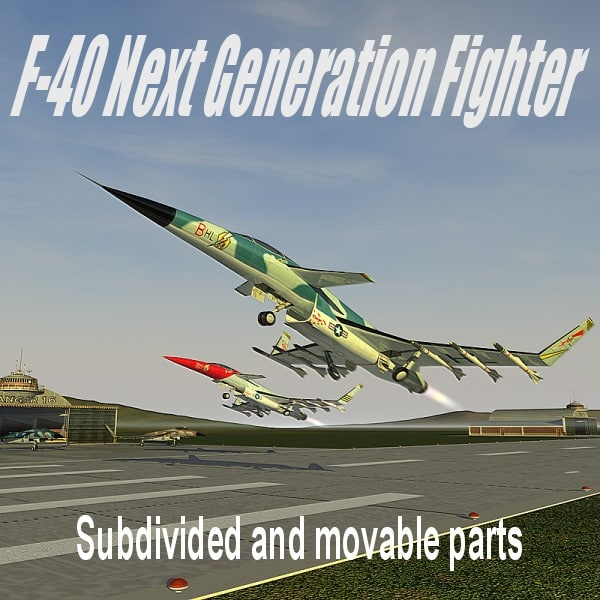 f-40 fighter airplane 3ds