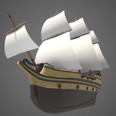sailing vessel masts 3d model