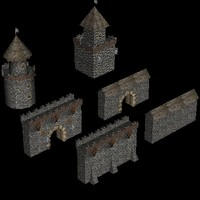 3d 3ds medieval castle buildings