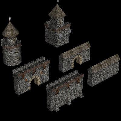 3d 3ds medieval castle buildings