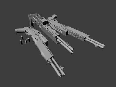 free 12 shotgun spas gun 3d model