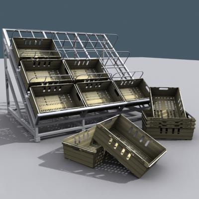 3d model supermarket rack storage crates