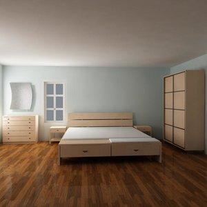 3d model bedroom furniture bed