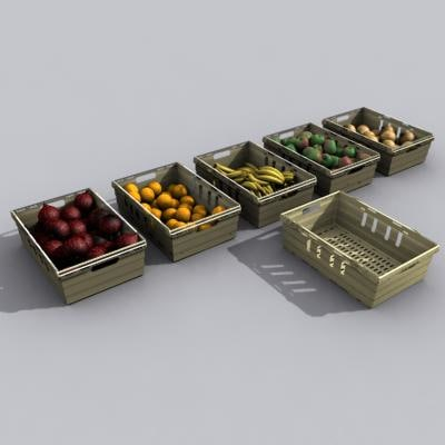 fruit veg crates 3d max