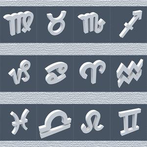 zodiac signs standart 3d model