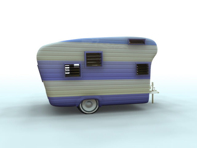 older style camper trailer 3d model