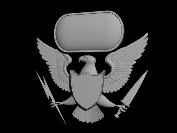3d crest logo military model