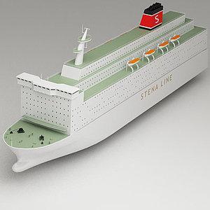 3d model passenger car ferry