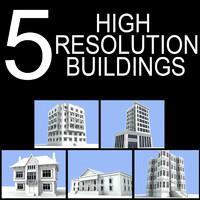 5 buildings 3d 3ds