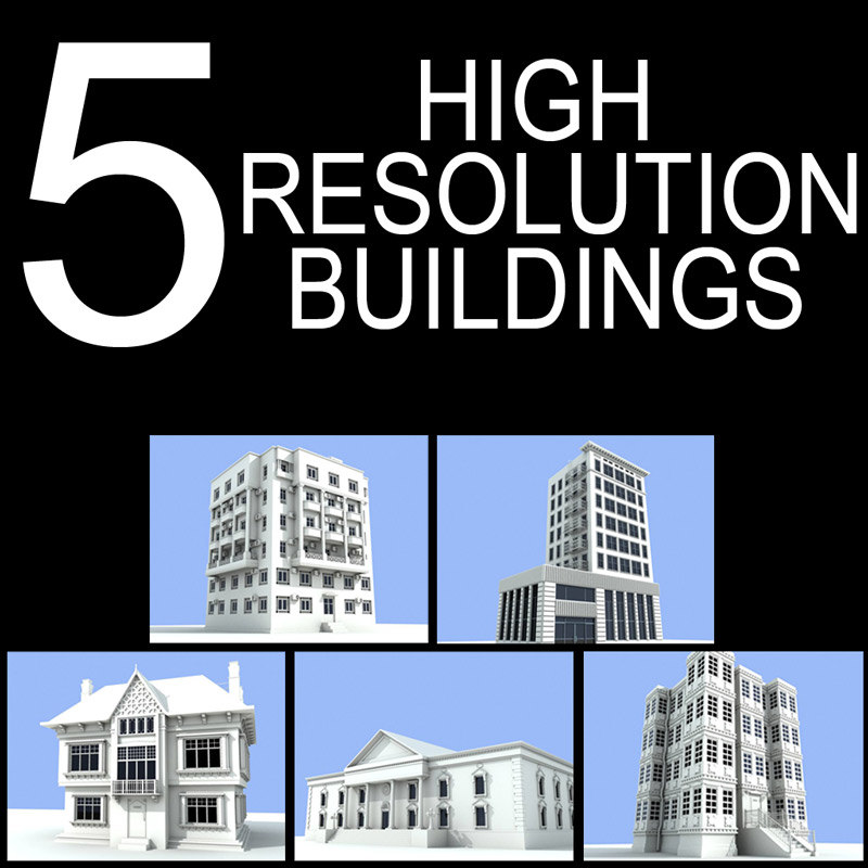 5 buildings 3d 3ds