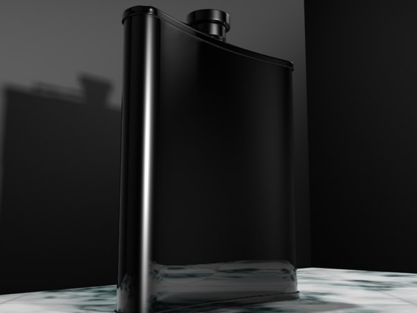 3d chrome bent flask model