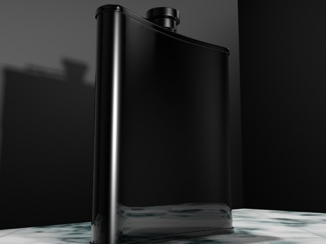 3d chrome bent flask model