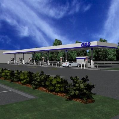fueling station pumps gas 3d model