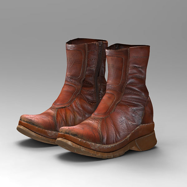 polygonal shoes boots 3d model