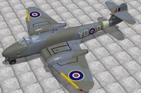 gloster meteor fighters f3 3d model
