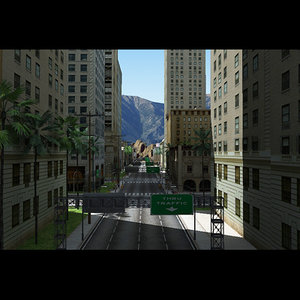 3d city road street building