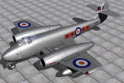 3d gloster meteor fighters jet f4