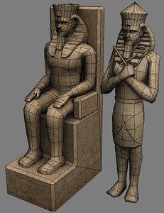 pharaoh egypt sculpture 3d model
