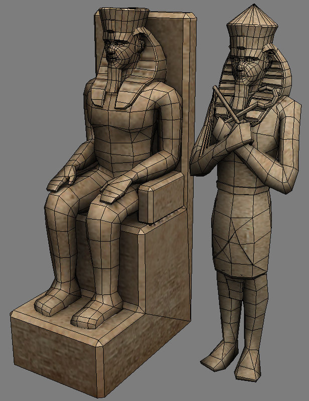 pharaoh egypt sculpture 3d model