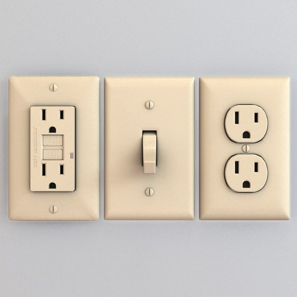 electrical outlet switch gfci 3d model