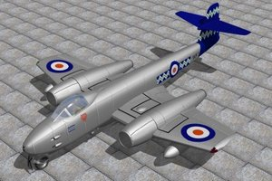 gloster meteor fighters jet c4d