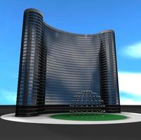 skyscraper hotel building 3d c4d