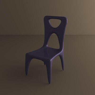 3d simple plastic chair