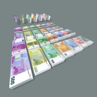 euro banknotes 500 3d max