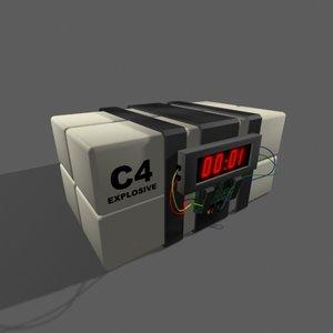 c4 plastic explosive bomb 3d model