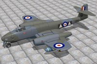 3d gloster meteor fighters jet