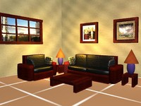 Frontroom with couch, chair, tables and lamps
