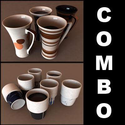 e tea cups 3d model