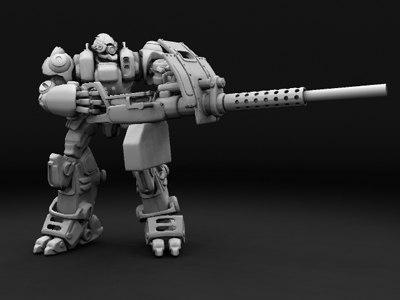 robotic armored suit w 3d max