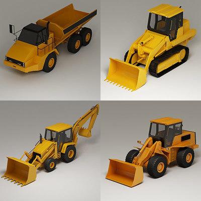 loader bulldozer industrial dump truck 3d model