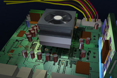 3d computer motherboard