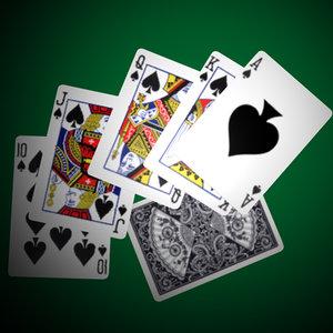 3d model cards royal flush